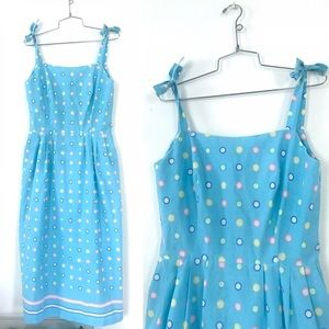 Vintage 1980's does 50's blue polka dot dress